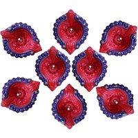 Diya - Unique Arts Petals shaped red-blue Designer Diyas - Set of 8