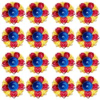 Diya - Unique Arts multicolored flower shaped Designer Diyas - Set of 16