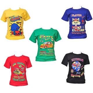 Multicolour Kid's Round Neck Printed Cotton T-shirt (Set of 5)