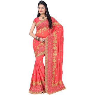 ArDeep Fashion Persent Women Georgette Embroidered Orange Saree