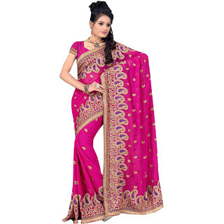 ArDeep Fashion Persent Women Georgette Embroidered Pink Saree