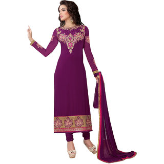 ArDeep Fashion Persent Women Heavy Georgette Embroidered Purple Semi Stitched Dress Material