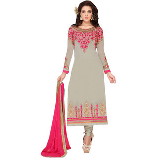 ArDeep Fashion Persent Women Heavy Georgette Embroidered Green Semi Stitched Dress Material