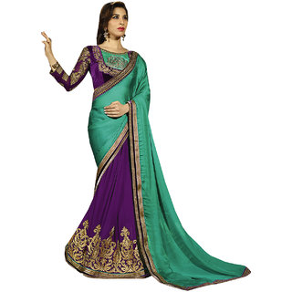 ArDeep Fashion Persent Women Satin Chiffon With Georgette Embroidered Green Saree