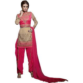 ArDeep Fashion Persent Women Polyster Georgette Embroidered Pink Dress Material