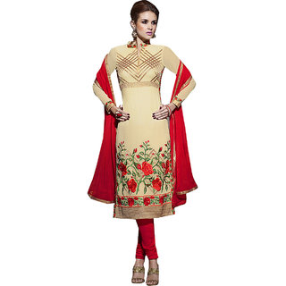 ArDeep Fashion Persent Women Polyster Georgette Embroidered Cream Dress Material