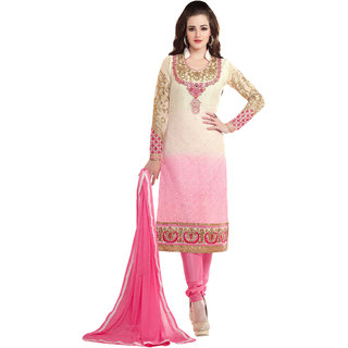 ArDeep Woman Brasso Embroidered Pink Dress Materials