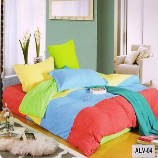 Valtellina Cotton Elegant Ultra-Blue color Double Bedsheet  2Pillow (ALV-004)