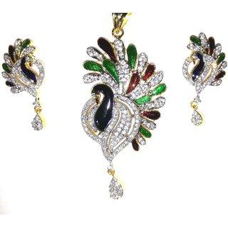 FJ Fashion Gold Plated Meenakari CZ Diamond Peacock Design Pendant Set for Women