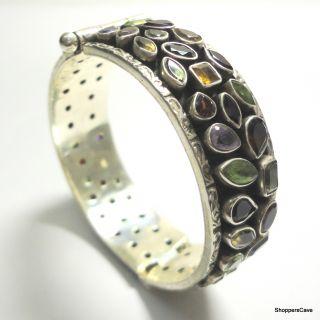 Shoppers Cave Designer Sterling Silver Bracelet Setted With Multi Color Stones