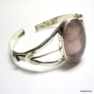 Shoppers Cave Designer Sterling Silver Bracelet Setted With Rose Quartz Stone