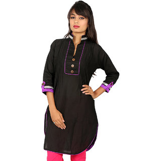 Plain Kurti with Purple Boarder and Silver Lace