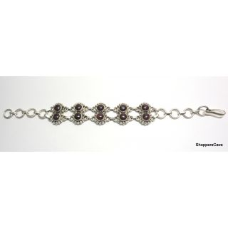 Shoppers Cave Designer Sterling Silver Bracelet Setted With Garnet Stone