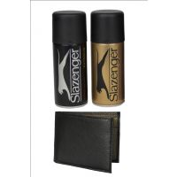 Slazenger Deodorant Spray with Random Leather Wallet (2 Deos and 1 Wallet)