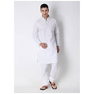 MENS WHITE SHORT KURTA WITH PYJAMA (COTTON)