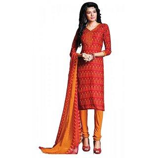 Khoobee Presents Chudidar Dress Material(Red,Yellow)