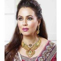 Kriaa Mithya  Antique Gold Finish Maroon & Green Austrian Diamond Stone Necklace