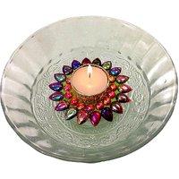 Unique Arts Beautiful Multicolored Floating Kundan Tea Light Candle Diya