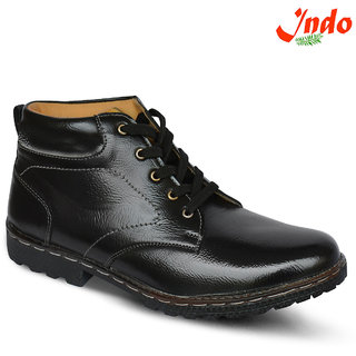 Indo Mens Black Lace-Up Boot