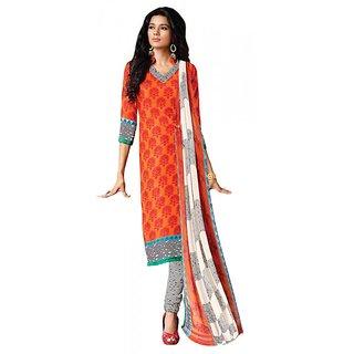 Khoobee Presents Chudidar Dress Material(Orange,Red,Black,White)