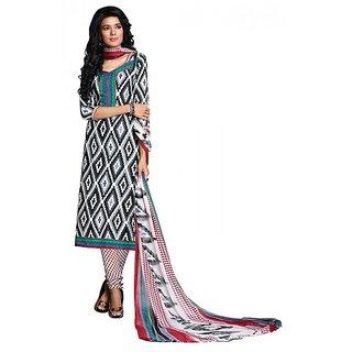 Khoobee Presents Chudidar Dress Material(Black,White,Red)