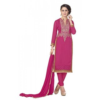 khoobee Presents Chudidar Dress Material(Pink)