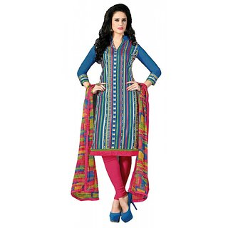 khoobee Presents Straight Dress Material(Blue,Multi,Rani)