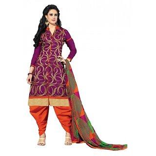 khoobee Presents Straight Dress Material(Purple,Multi,Orange)