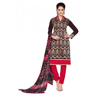 khoobee Presents Straight Dress Material(Brown,Multi,Red)
