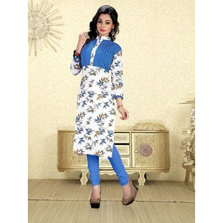 JR Printed White Beautiful Designer Kurti