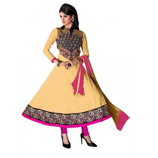 khoobee Presents Embroidered Cotton Anarkali Dress Material(Chikoo,Pink)