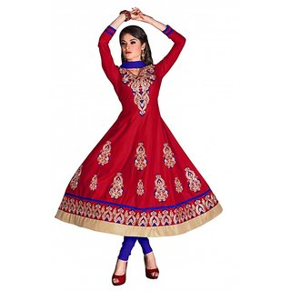 khoobee Presents Embroidered Cotton Anarkali Dress Material(Red,Blue)