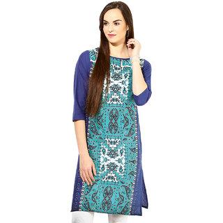 Light Blue Blue Cotton Regular Kurti For Women