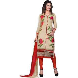 khoobee Presents Embroidered Glaze Cotton Dress Material(Beige,Orange)