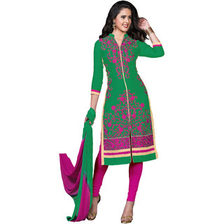 khoobee Presents Embroidered Glaze Cotton Dress Material(Green,Rani)