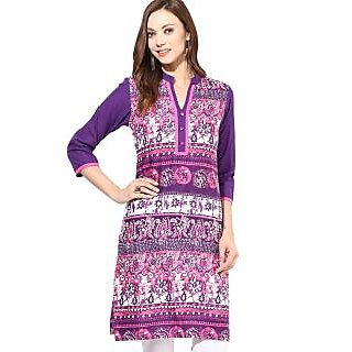 Purple White Cotton Regular Kurti For Women