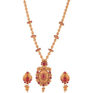 1 gram gold plated Temple design south Indian necklace Earring Set Jewelry 5103