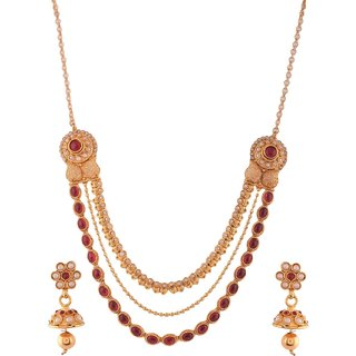 1 gram gold plated Temple Design Women Necklace Set Jewelry 5107