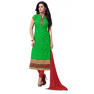 khoobee Presents Embroidered Georgette Dress Material(Green,Maroon)