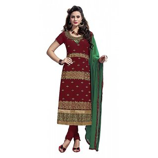 khoobee Presents Embroidered Georgette Dress Material(Maroon)