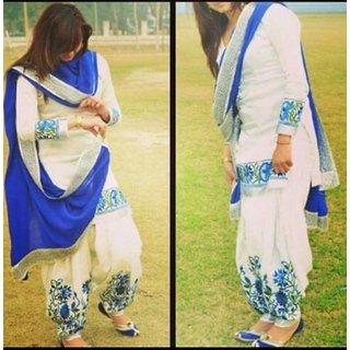 Online shopping for blue berry white cotton panjabi patiyala salwar suit materia