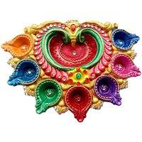 Akhand Diya - Unique Arts multicolored crown shaped 7 petals Akhand Diya