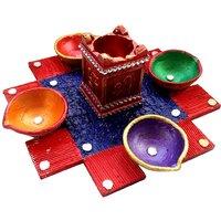 Diya - Unique Arts Designer 4+1 Diya Platter With Wooden Base