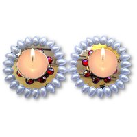 T-Light - Unique Arts Set Of 2 Kundan Floating Diya Tea Light Candle