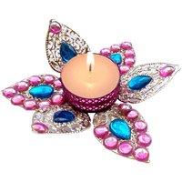 T-Light - Unique Arts Beautiful Pink Petals Metal Flower Tea Light Candle Diya