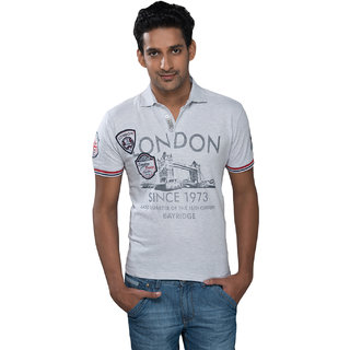 Mavango Latest Casual Printed Gray T-shirt for Men