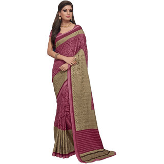 Aesha Brown Silk Embroidered Saree With Blouse