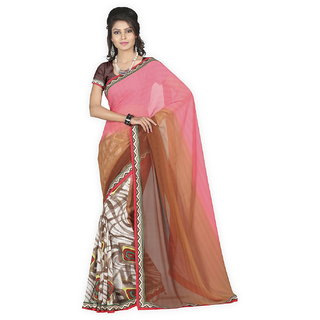 Yehii Printed Pink  Brown Pure Georgette Saree