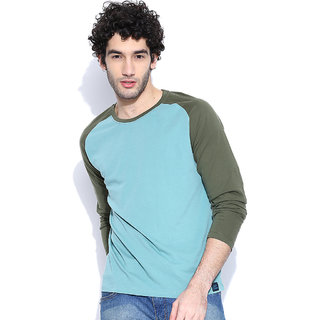 Cult Fiction Light Blue Solid Round Neck MenS T-Shirt