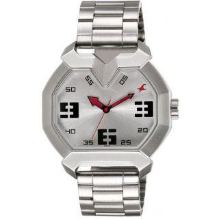 Rectangle Dial Silver Metal Strap Quartz Watch For Men